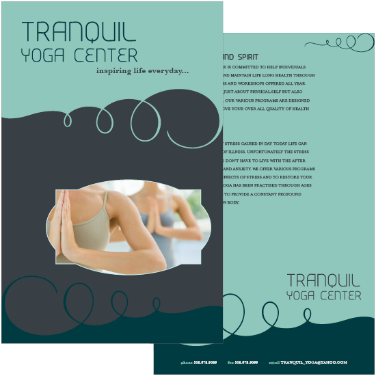 Brochure for Tranquil Yoga Center
