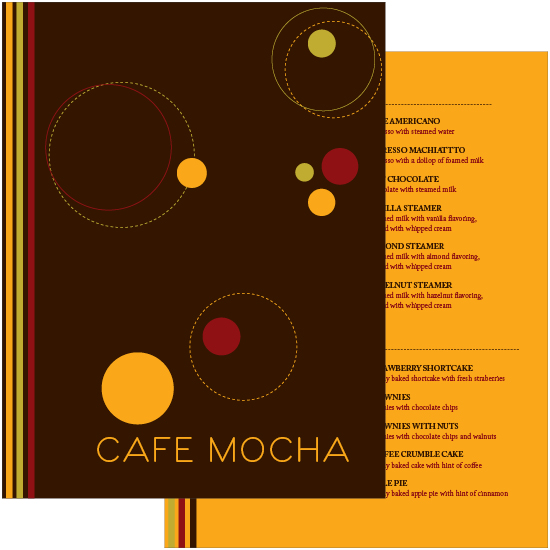 Menu for Cafe Mocha