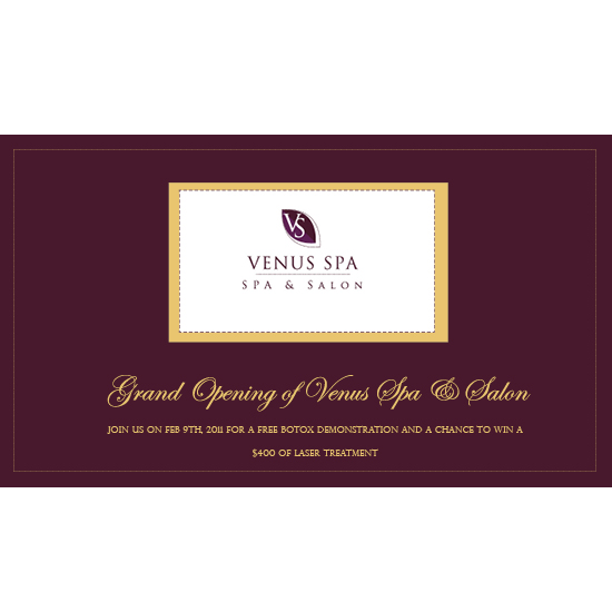 Venus Spa & Salon Grand Opening card